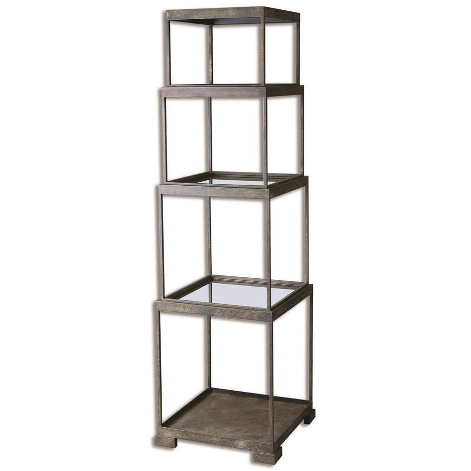 Rustic Iron Antique Mirror Etagere Shelf