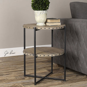 Reclaimed Wood & Iron Accent Table with Nailhead Trim