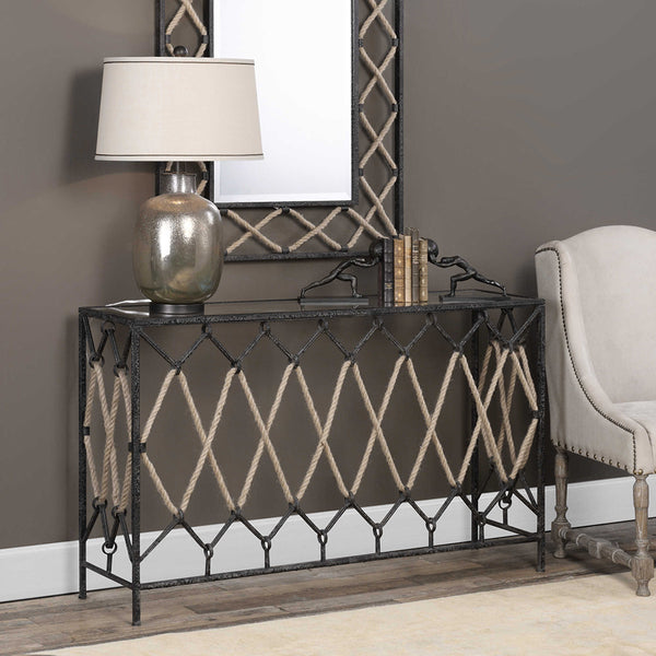 Iron & Nautical Rope Console Table with Glass Top