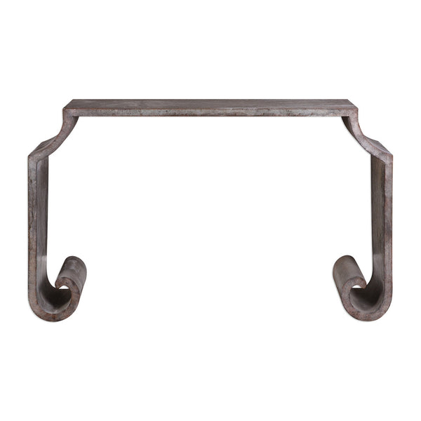 Scroll Leg Zinc Console Table – Acid Wash Finish
