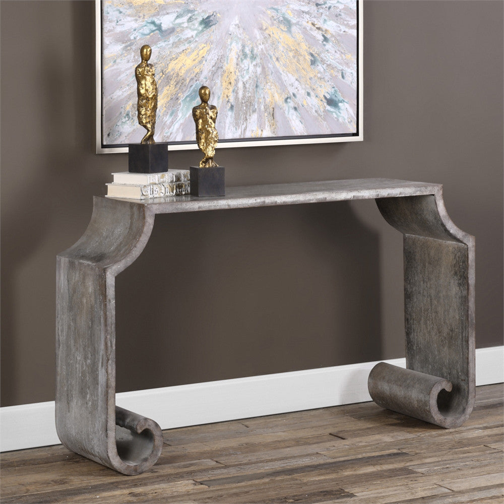 Scroll Leg Zinc Console Table Acid Wash Finish