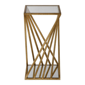 Glam Gold Leaf Angles Accent Table with Glass Top