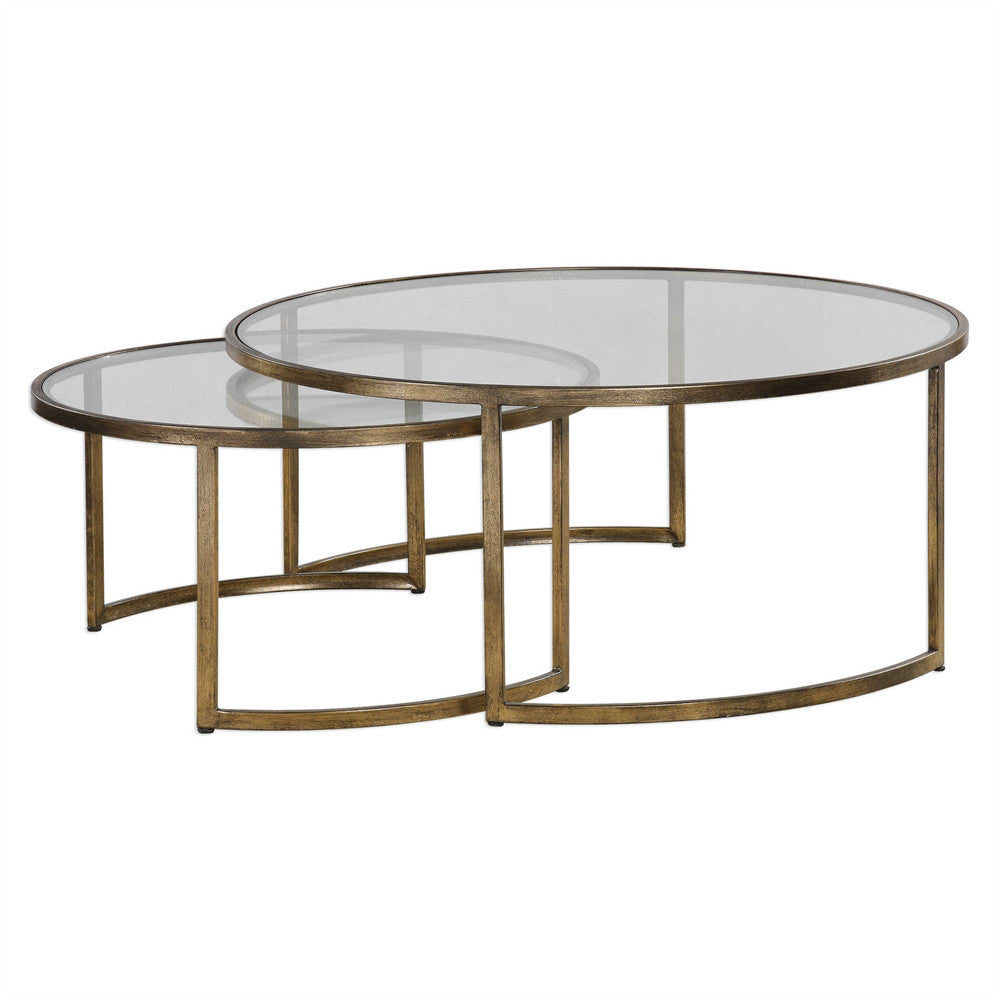 gold leaf nesting cocktail tables set of 2