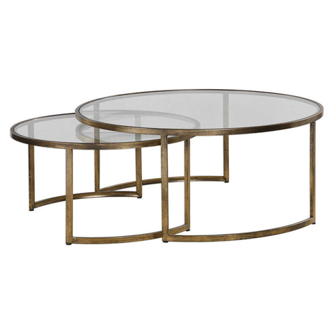 Gold Leaf Nesting Cocktail Tables – Set of 2