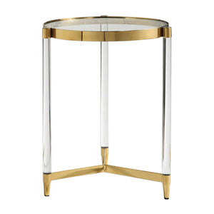 Round Gold Accent Table with Acrylic Legs