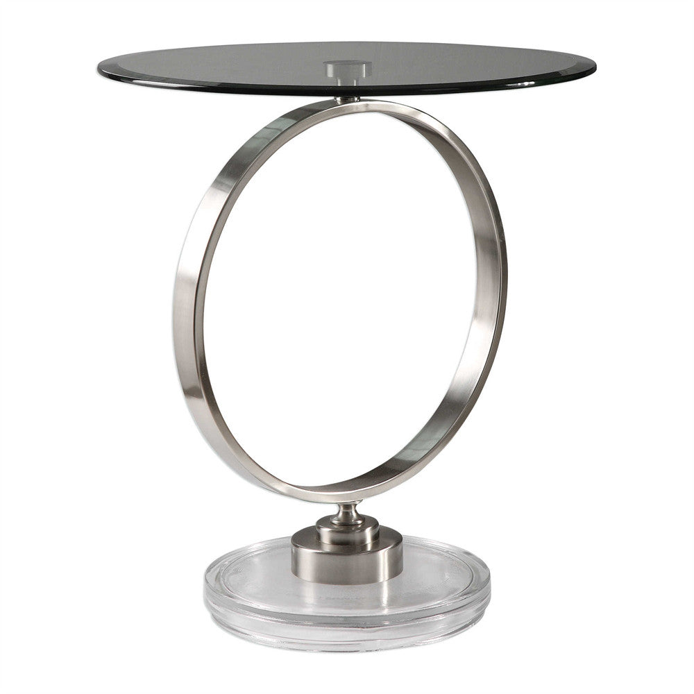 Brushed Nickel Ring Accent Table
