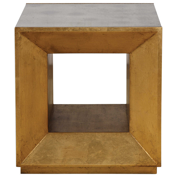 Modern Gold Leaf Cube Table with Mirror Top