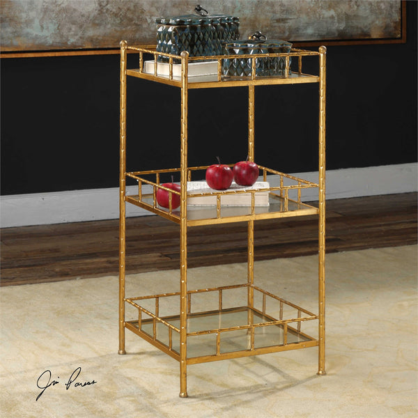 Gold Iron and Glass Cage Tray Accent Shelf