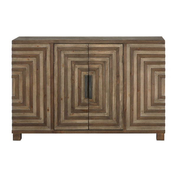 Two-Door Geometric Parquetry Console Cabinet