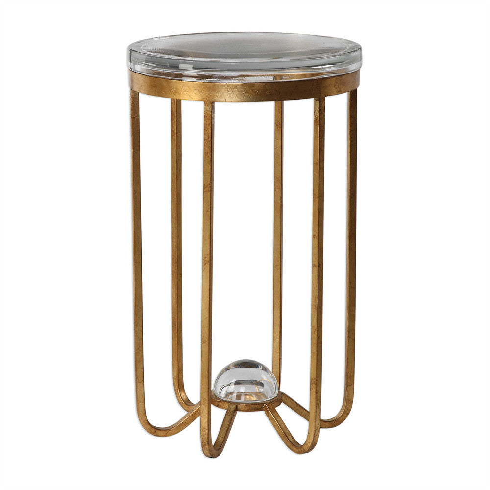 Antique Gold Hand-Forged Iron and Glass Accent Table