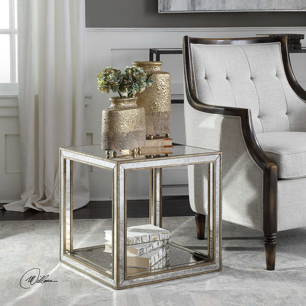 Mottled Antique Mirror Accent Table