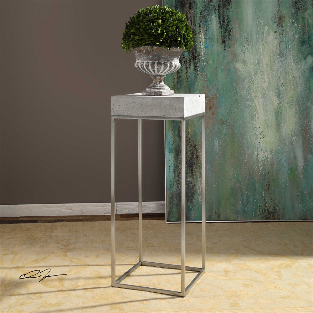 Industrial Concrete Amp Stainless Steel Plant Stand Accent Table