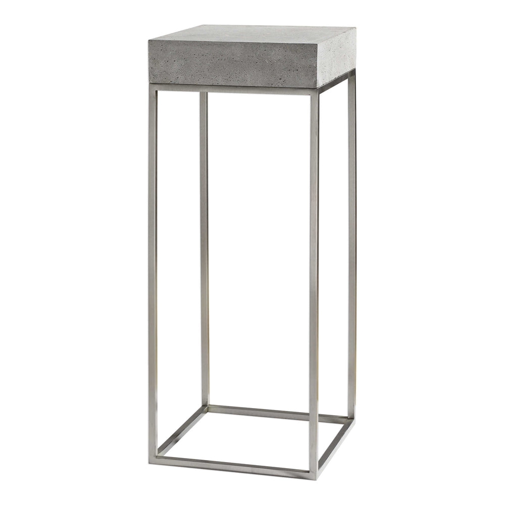 Industrial Concrete & Stainless Steel Plant Stand/Accent Table