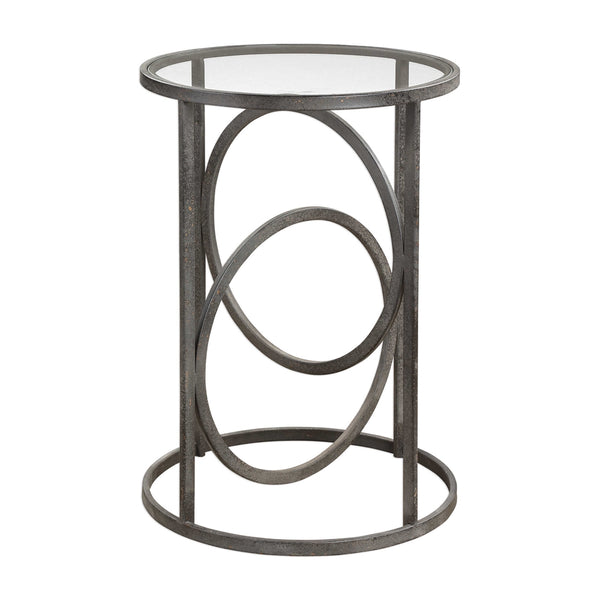 Interlocking Rings Forged Iron Accent Table with Glass Top