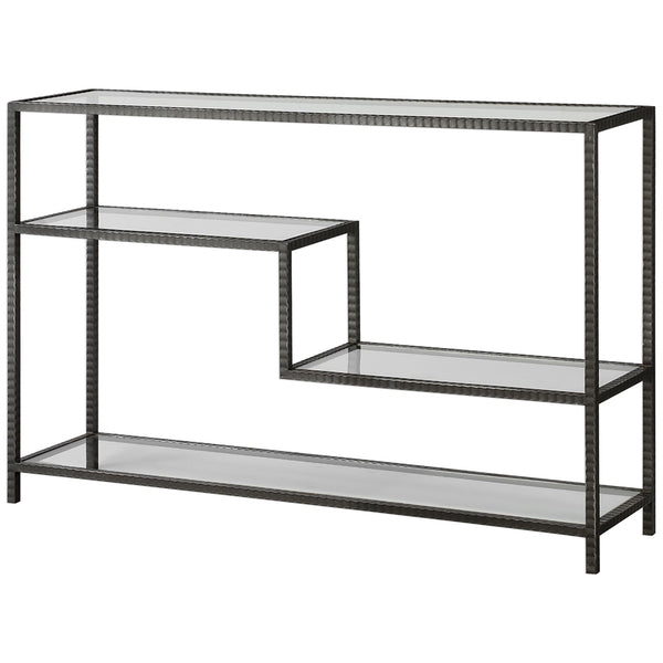 Ribbed Iron & Tempered Glass Industrial Console Table