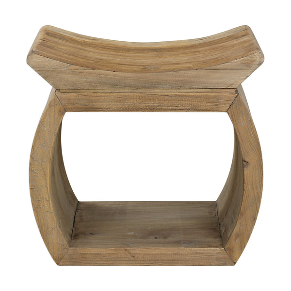 Reclaimed Wood Pagoda Accent Stool – Natural Finish