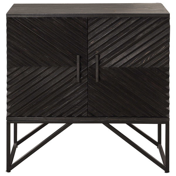 Chevron Pattern Two Door Accent Cabinet