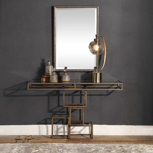 Contemporary Stacked Boxes Console Table with Glass Top