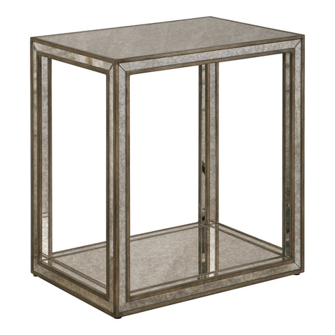 Open Frame Wooden Side Table with Antique Mirror Insets
