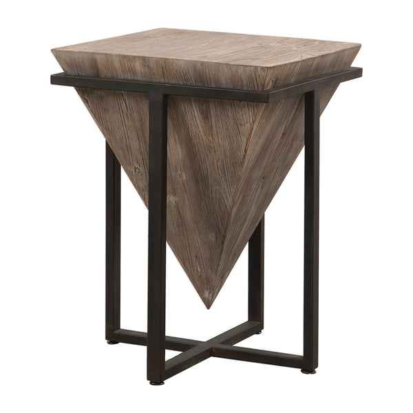 Inverted Wooden Pyramid Accent Table – Wrought Iron & Fir