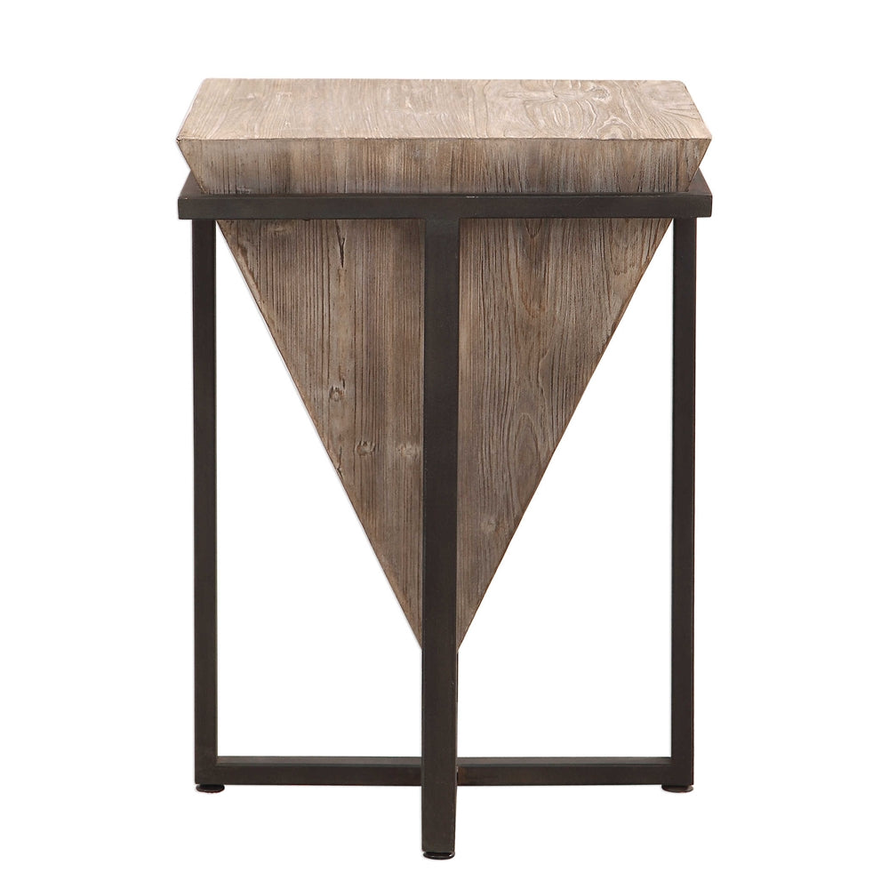 - Inverted Wooden Pyramid Accent Table – Wrought Iron & Fir