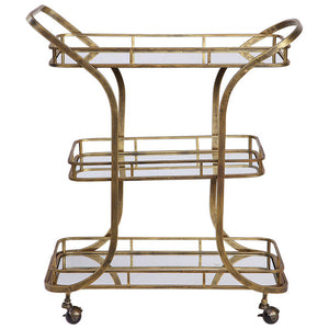 3-Tier Rolling Serving Cart with Mirrored Shelves