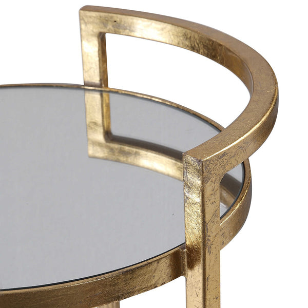 Glam Round Accent Table with Mirror Top