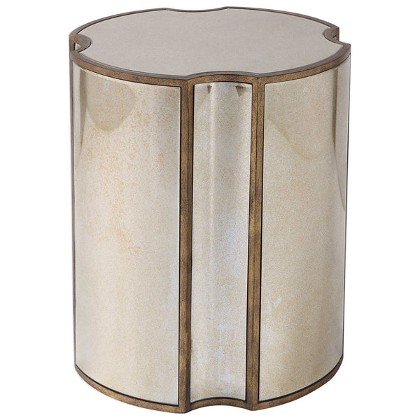 Quatrefoil Brass Accent Table with Antiqued Mirror Surfaces
