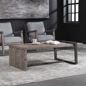 Rustic Weathered Pine Coffee Table with Iron Strap Support