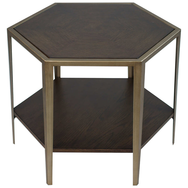 Hexagonal Iron Frame Accent Table