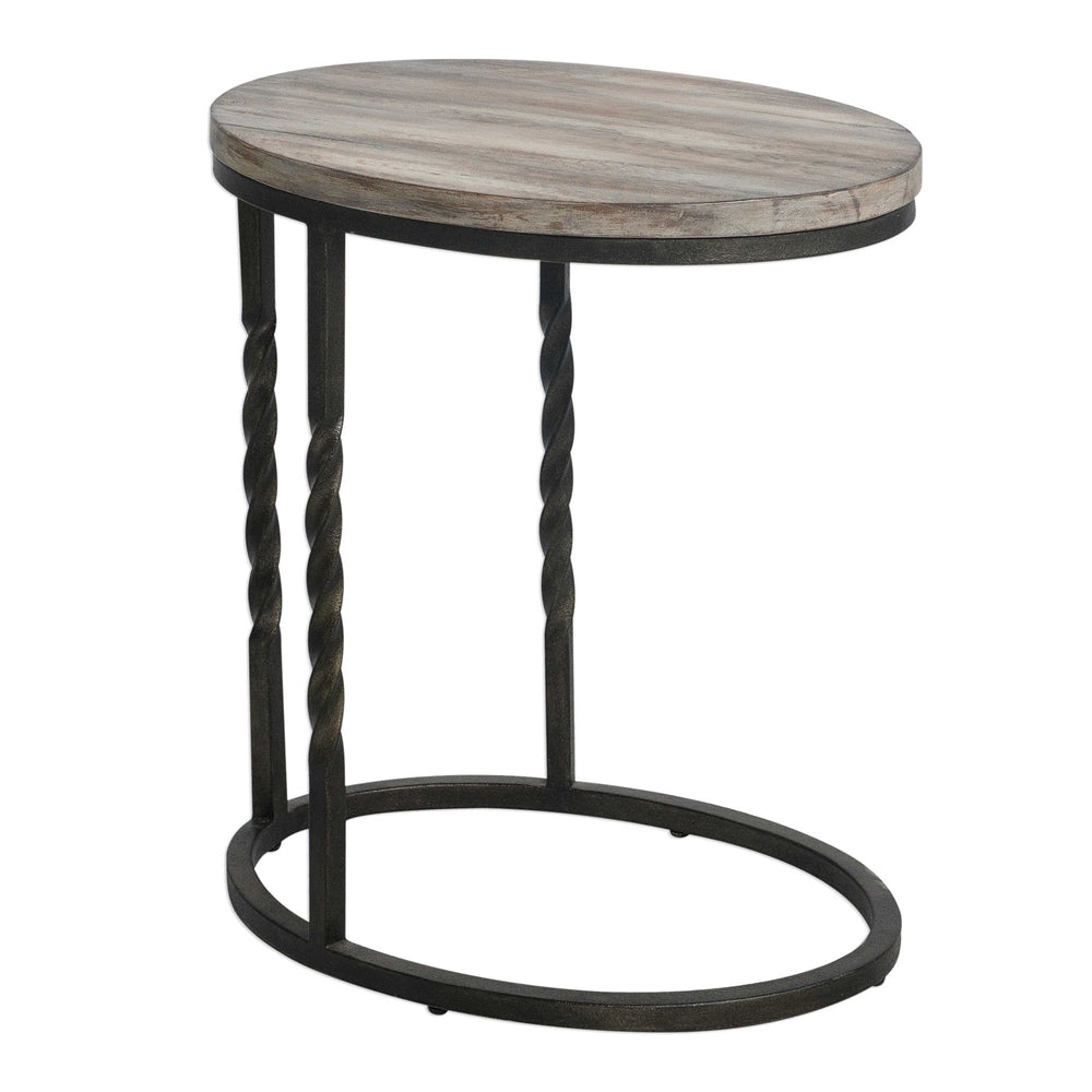 Rustic Cantilevered Accent Table – Wrought Iron & Acacia