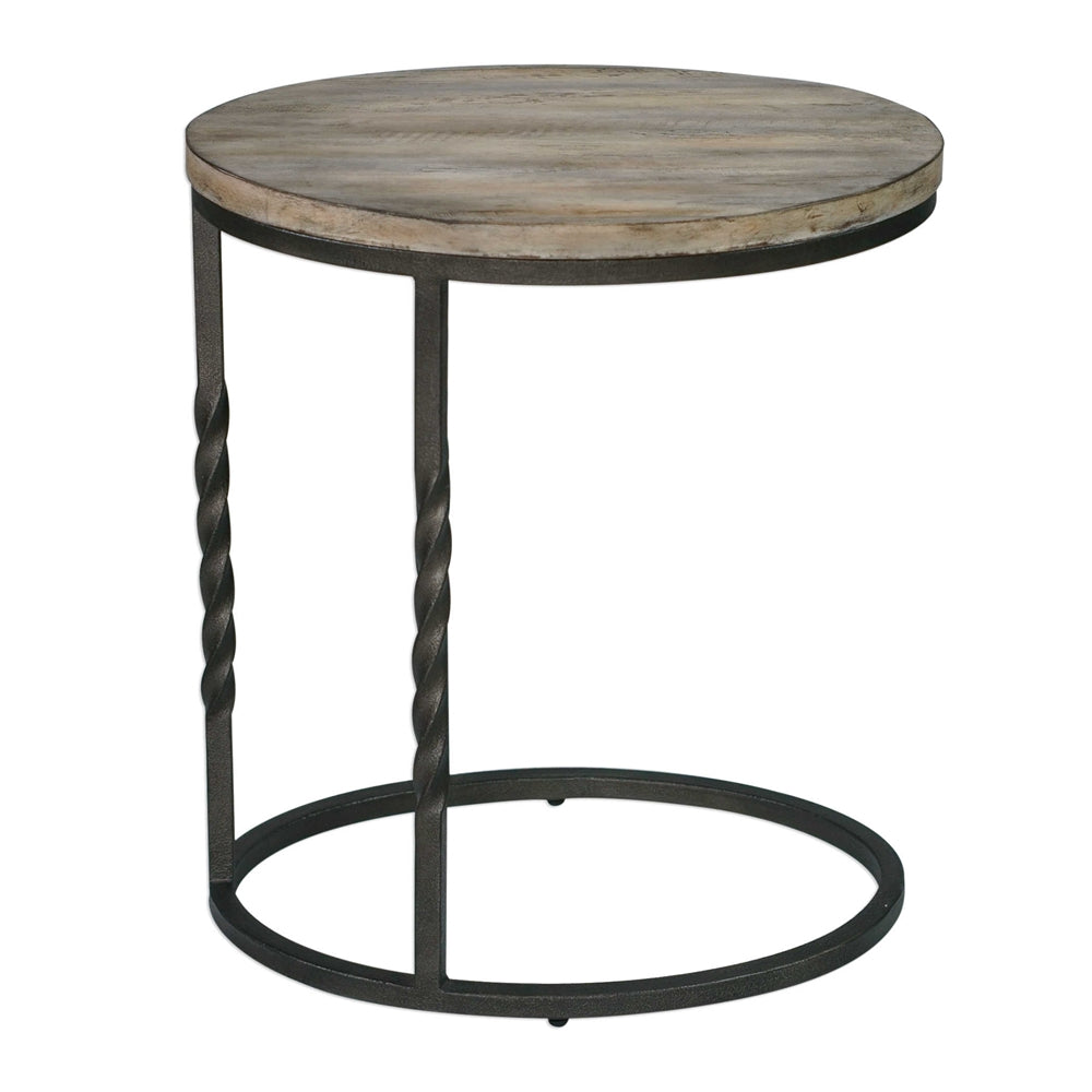 - Rustic Cantilevered Accent Table – Wrought Iron & Acacia