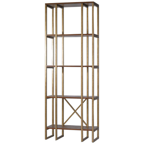 Transitional 4-Shelf Etagere in Brushed Antique Gold