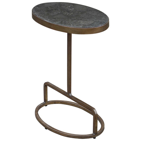 Modern Iron Frame Accent Table with Oval Bluestone Top