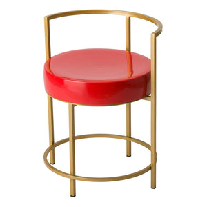 Metal-Frame Chair with Ceramic Seat – Gold / Coral
