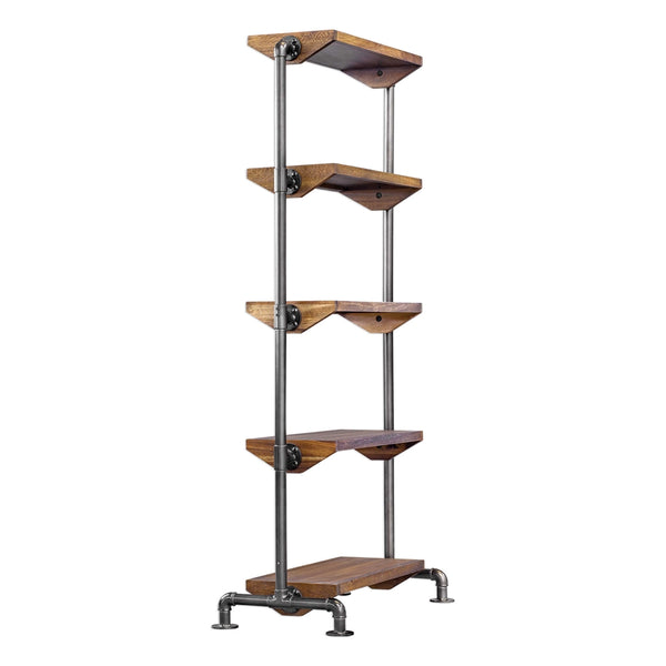 Industrial Acacia Wood & Iron Pipe 5-Shelf Etagere