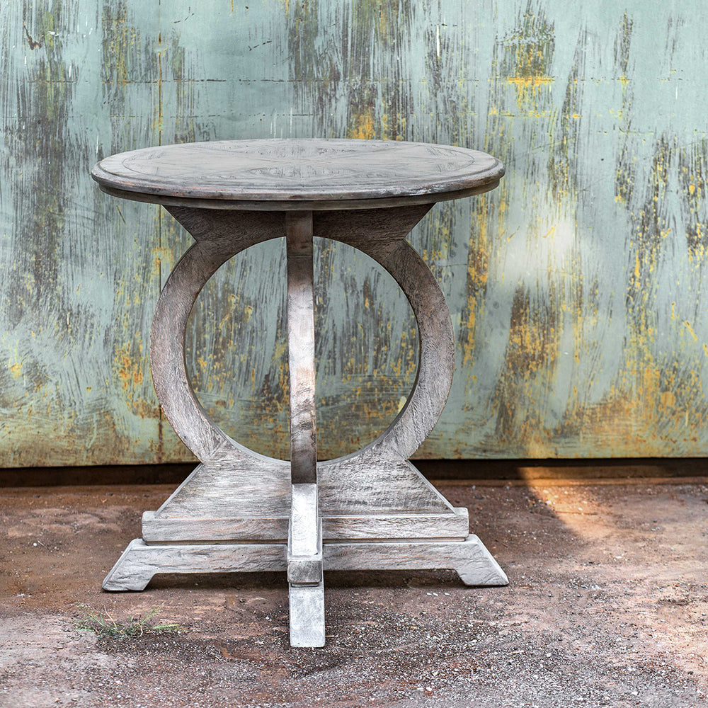 Circle Motif Distressed Mango Wood Accent Table