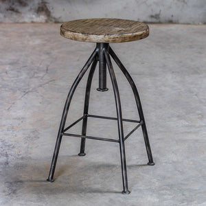 Industrial Steel Pub Stool with Round Mango Seat