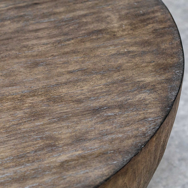Round Mango Wood Coffee Table with Aged Walnut Finish