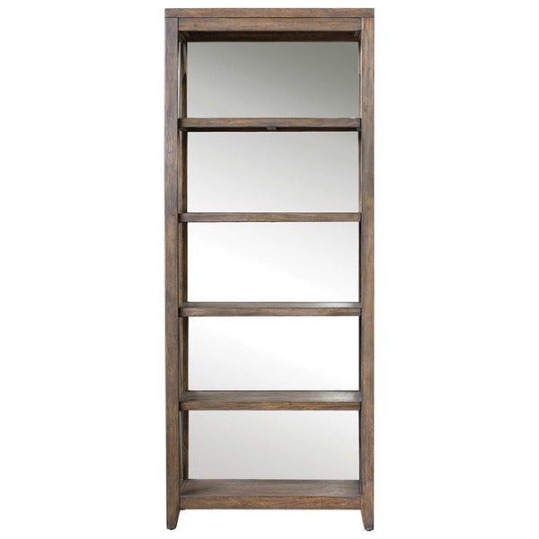 Rustic Iron & Wood Etagere with Mirrored Back