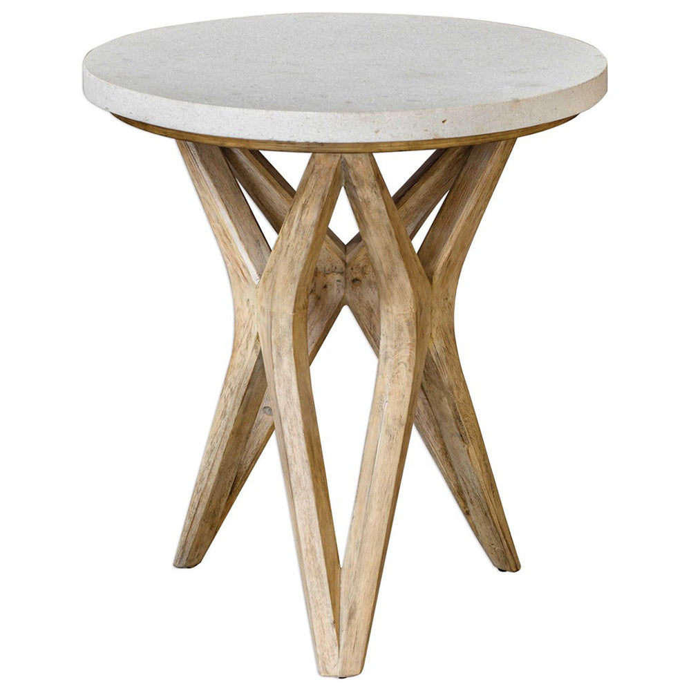X-Motif Hardwood Accent Table with Round Limestone Top
