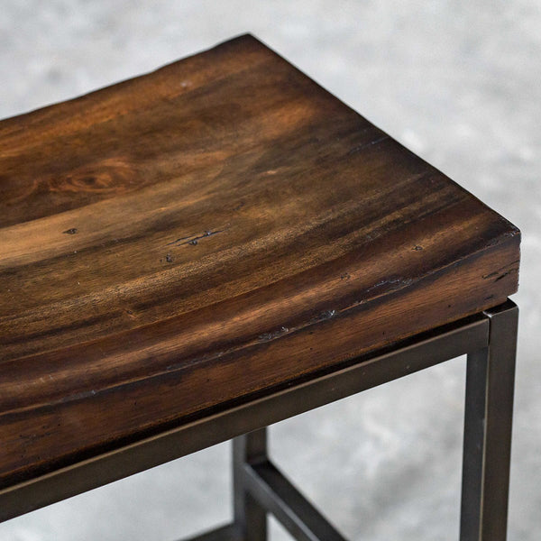 Industrial Counter Stool with Solid Hardwood Seat