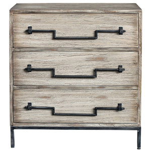 Three-Drawer Ivory Wood Accent Chest