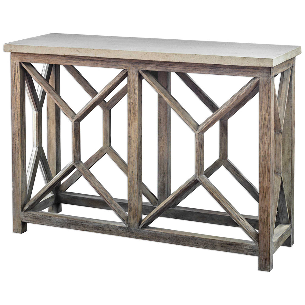 Mixed wood console table with stone top scenario home mixed wood console table with stone top geotapseo Gallery