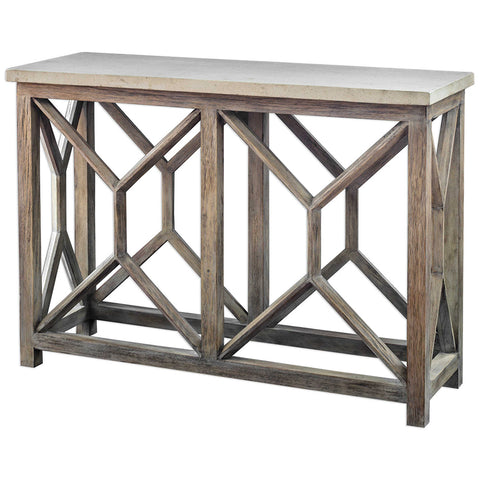 Mixed Wood Console Table with Stone Top