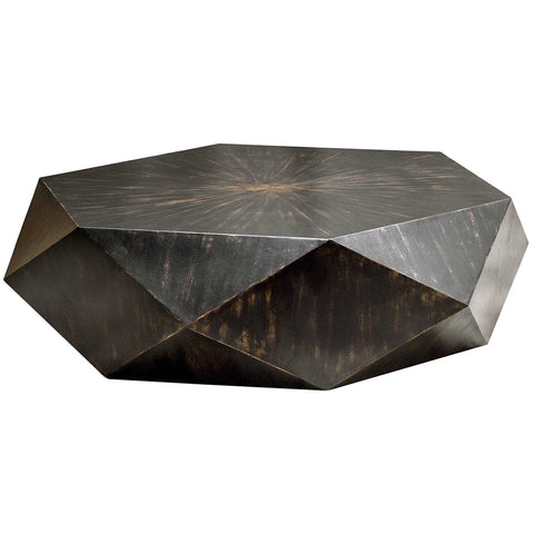 Multifaceted Hexagonal Mango Wood Coffee Table