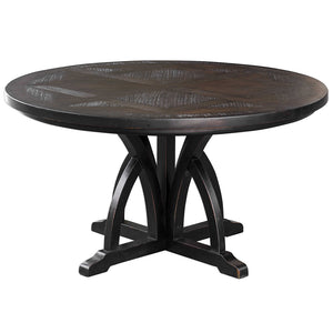 Arched Motif Mango Wood Dining Table — Black
