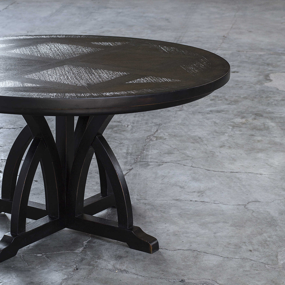 Arched Motif Mango Wood Dining Table   Black