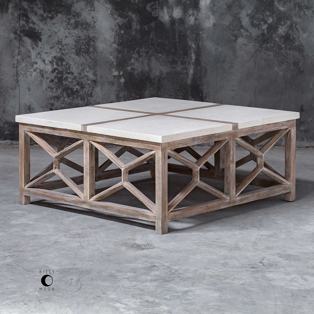 Limestone Top Coffee Table