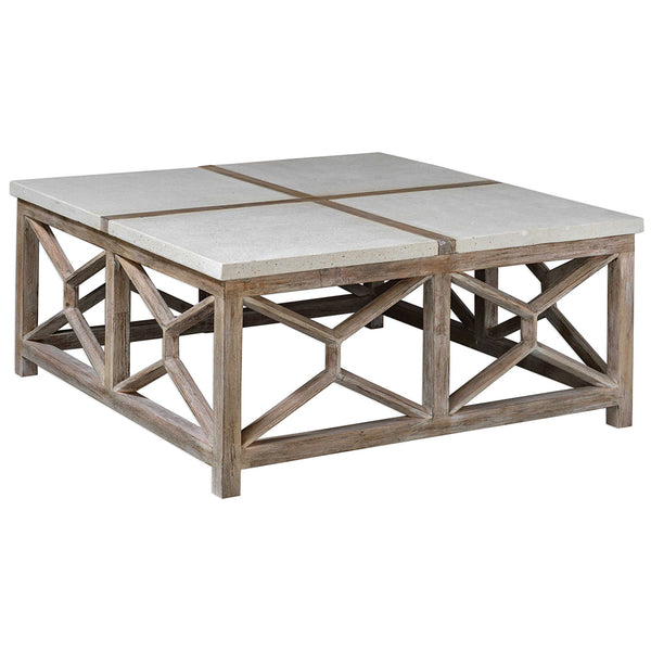 Geometric Coffee Table with Natural Limestone Top